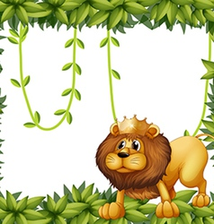 A lion king and the leafy frame vector