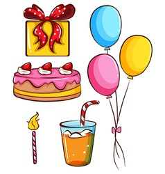 A simple coloured sketch of a birthday celebration vector image