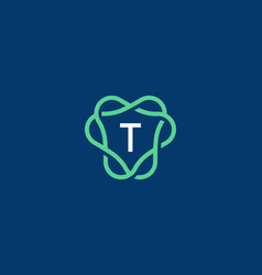 abstract letter t logo icon design modern minimal vector image