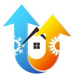 Air conditioner heating and cooling house vector