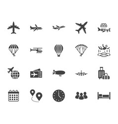 Aircraft flat glyph icons set airplane vector