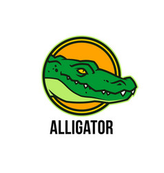 alligator head in circle crocodile colored mascot vector image