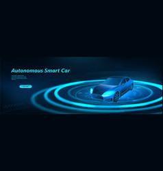 autonomous smart car scans road vector image