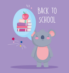 back to school education cute koala think books vector image