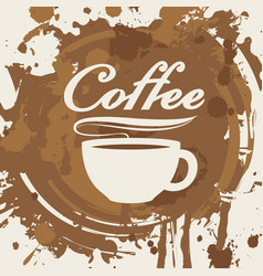 Banner with cup of coffee stains and splashes vector