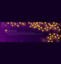 banner with festive gold glowing garlands vector image