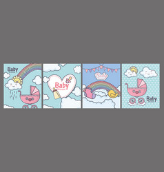 bashower pink pram heart rainbow clouds cards vector image