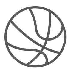 basketball ball line icon sport and game vector image