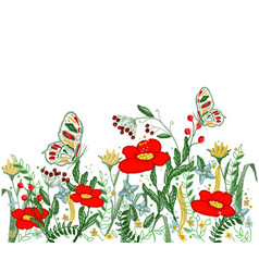 beautiful flowers embroidery vector image