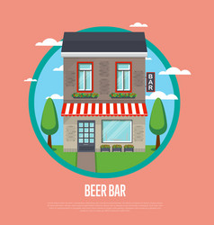 beer bar banner in flat design vector image