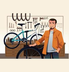 bicycle store owner in his bike repair shop vector image