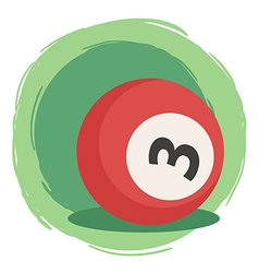 Billiard ball number 3 red vector