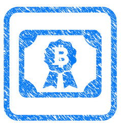 bitcoin diploma framed stamp vector image