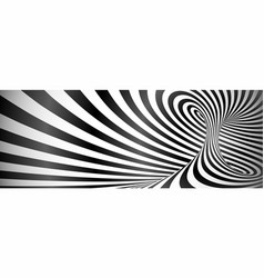 Black and white twisted lines horizontal vector