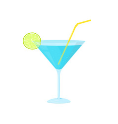 blue cocktail with lime slice vector image