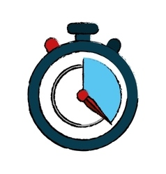 Blue stopwatch fast delivery symbol drawing vector