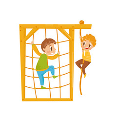 Boys climbing net rope kids on a playground vector