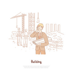 building industry engineer foreman builder vector image