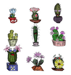 Cacti monsters with cute faces plants in pots vector
