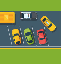 cars on parking lot top view flat vector image