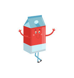 cartoon character of carton box with milk or juice vector image
