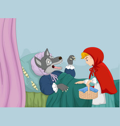 cartoon little red riding hood and wolf vector image