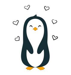 cartoon penguin isolated cute valentine card vector image