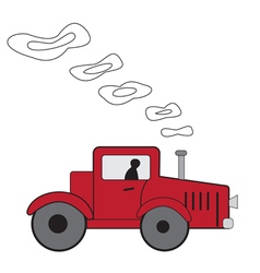 Cartoon red tractor vector