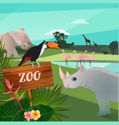 Cartoon wild animals in zoo funny vector