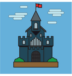 castle building flat on blue background vector image