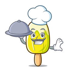 Chef with food lemon ice cream mascot cartoon vector