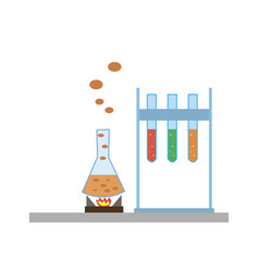 chemical flasks icons vector image