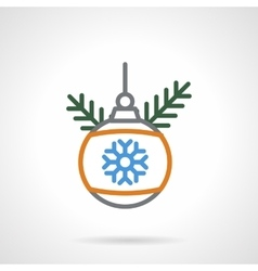Christmas bauble color line icon vector image