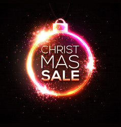 christmas sale discount banner neon style card vector image