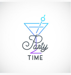 Cocktail party simple emblem cocktail glass icon vector