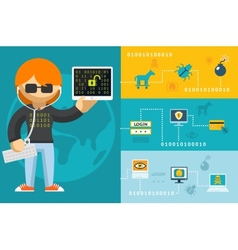 Computer Hacker and Accessories Icons vector image