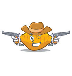 Cowboy conchiglie pasta character cartoon vector