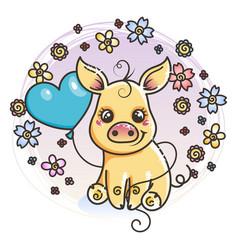 Cute cartoon golden baby pig in love vector