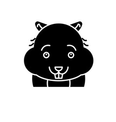 Cute hamster black icon sign on isolated vector