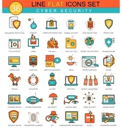 Cyber security flat line icon set Modern vector image