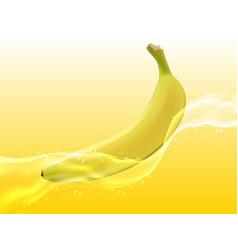 delicious juicy banana in spray of juice vector image