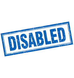 Disabled blue square grunge stamp on white vector