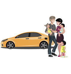 Family standing near new car vector