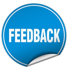 Feedback round blue sticker isolated on white vector