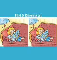 find differences game with a cartoon boy vector image