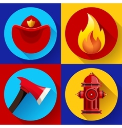 Firefighter icons elements set vector