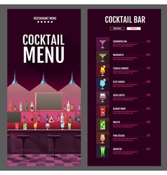 flat style cocktail menu design with bar interior vector image