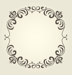 Flourish square frame with ornate curly borders vector