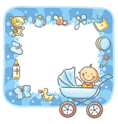 Frame with baby-boy things vector
