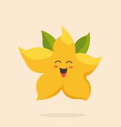 Funny happy star fruit character design vector